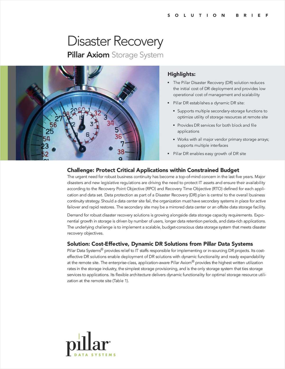 Solution Brief - Disaster Recovery