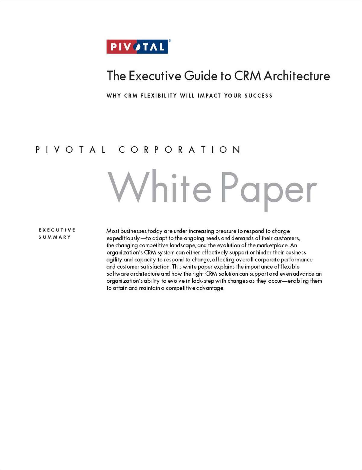 The Executive Guide to CRM Architecture