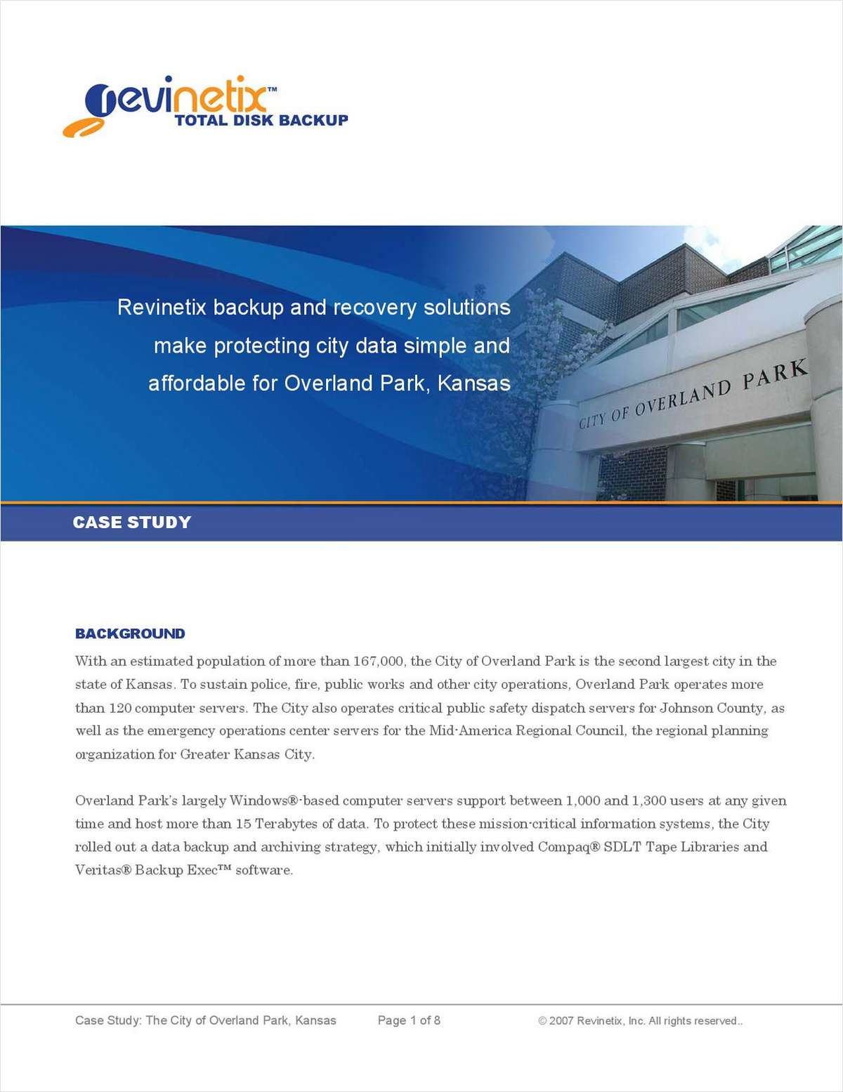 Revinetix backup and recovery solutions make protecting city data simple and affordable for Overland Park, Kansas