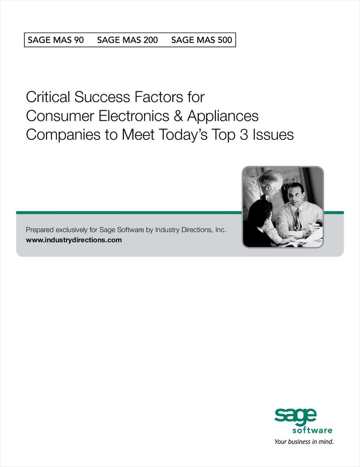 Critical Success Factors for Consumer Electronics & Appliance Companies to Meet Today's Top 3 Issues