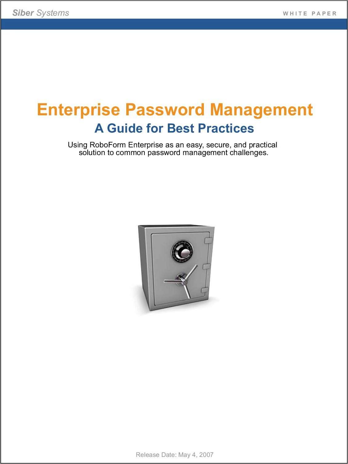 Enterprise Password Management - A Guide for Best Practices