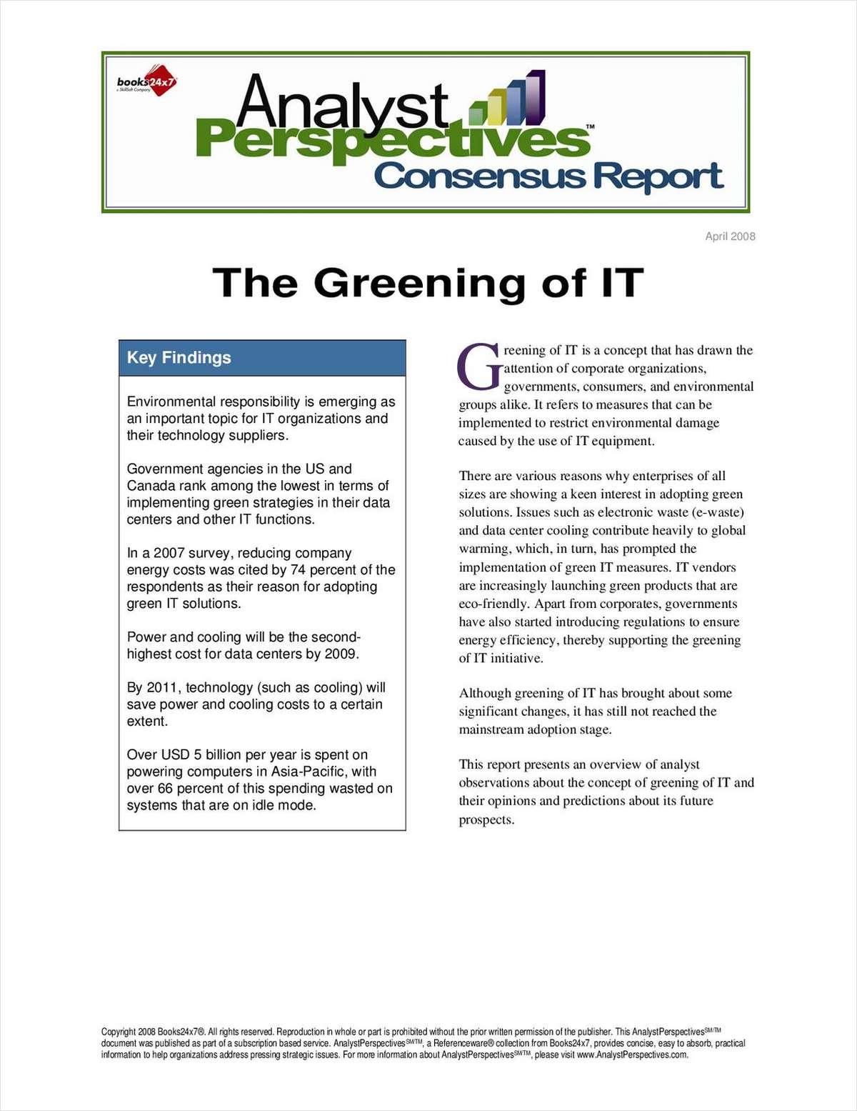The Greening of IT