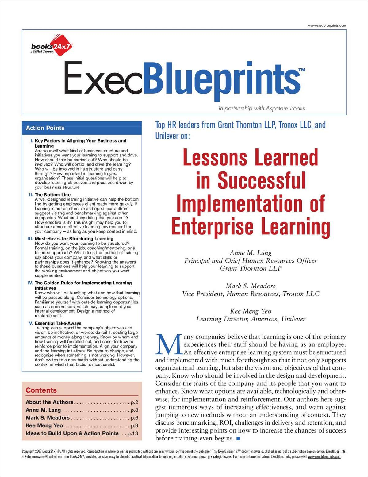 Lessons Learned In Successful Implementation of Enterprise Learning