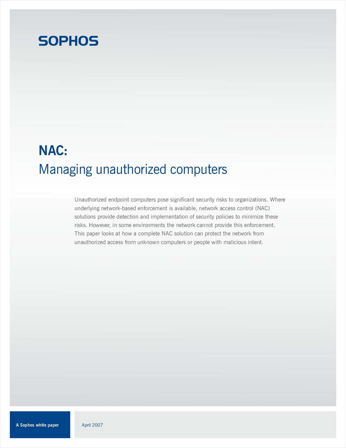 NAC: Managing Unauthorized Computers