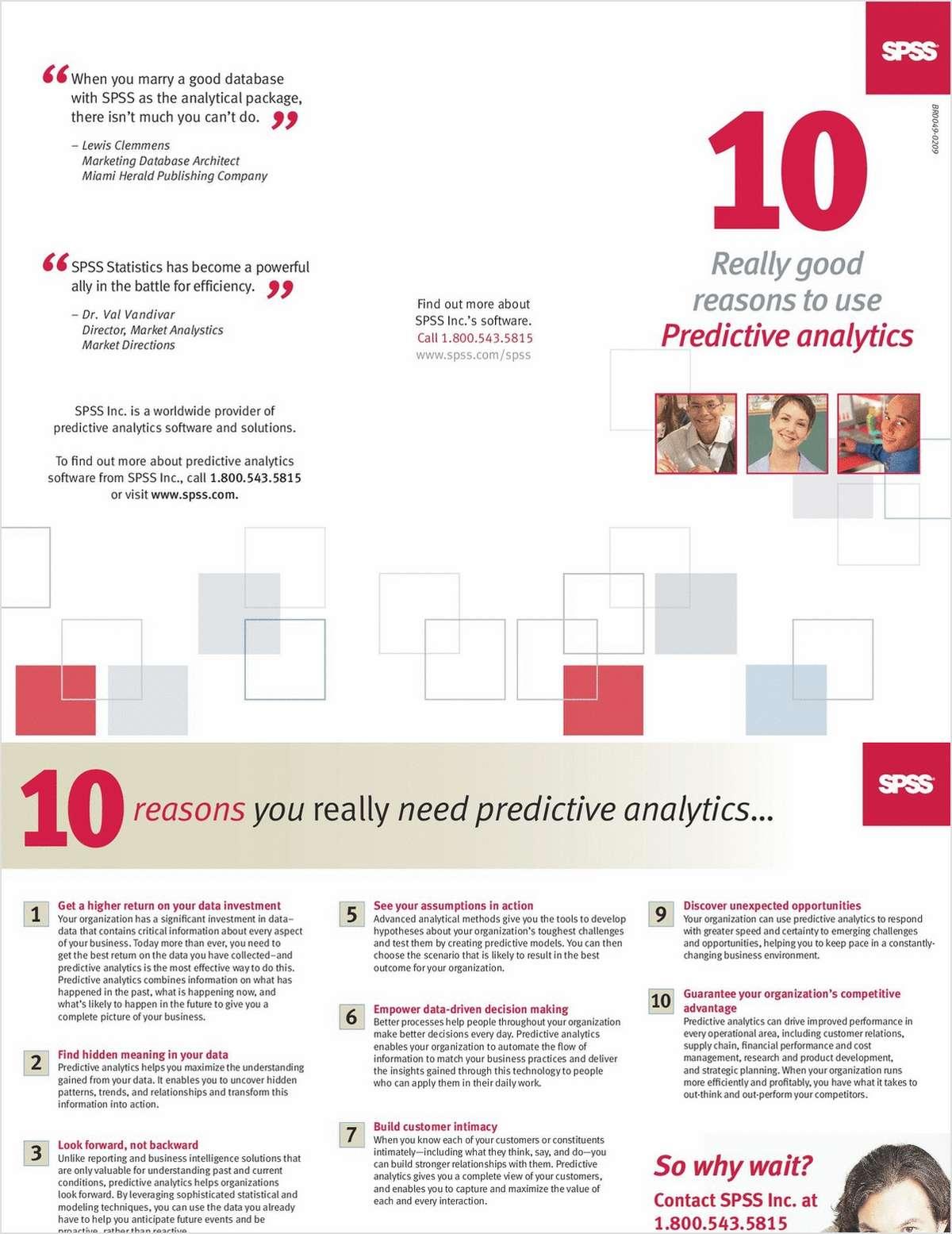 10 Really Good Reasons To Use Predictive Analytics