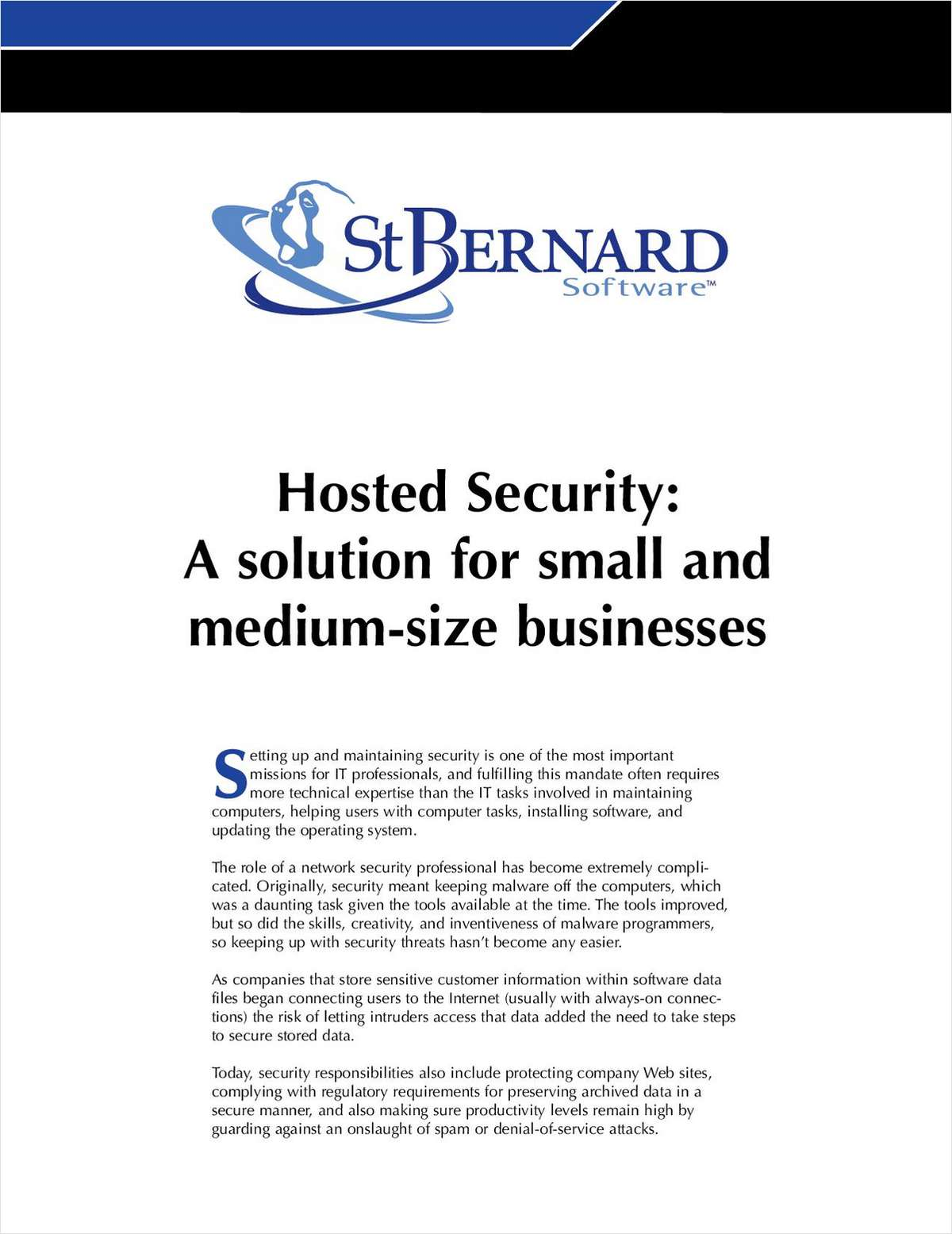 Hosted Security for Small and Medium-Sized Businesses
