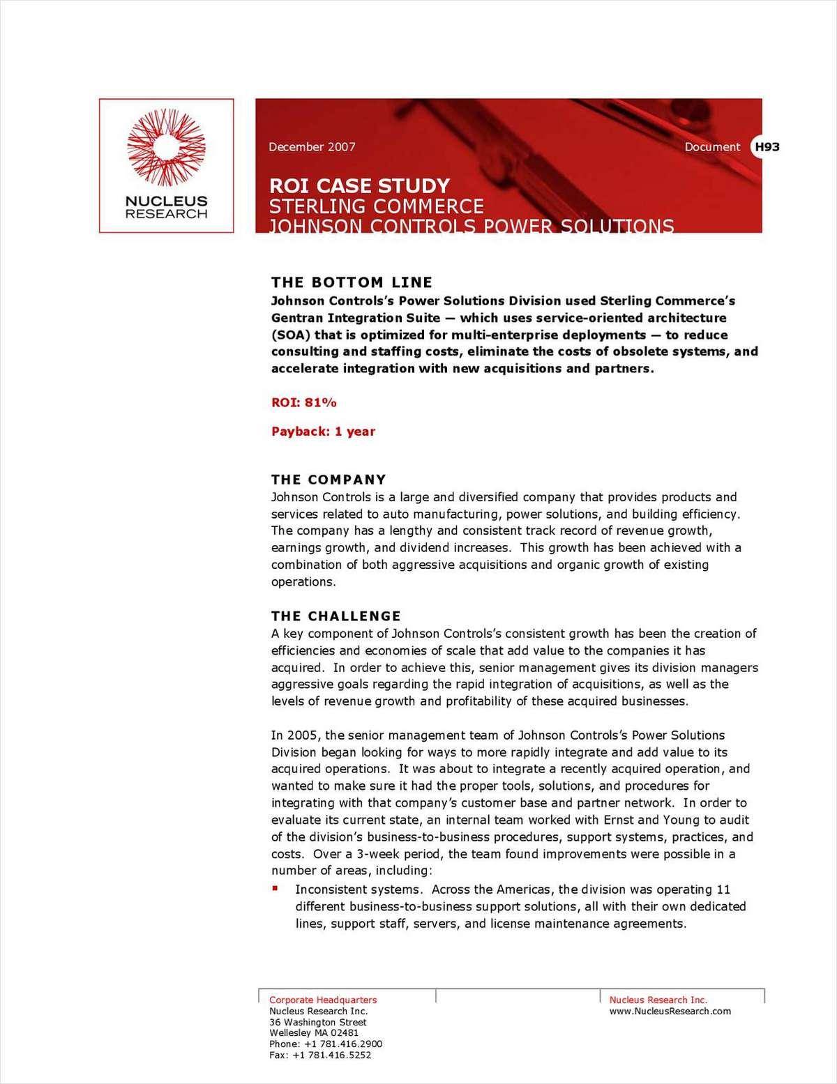 ROI Case Study: Johnson Controls Power Solutions
