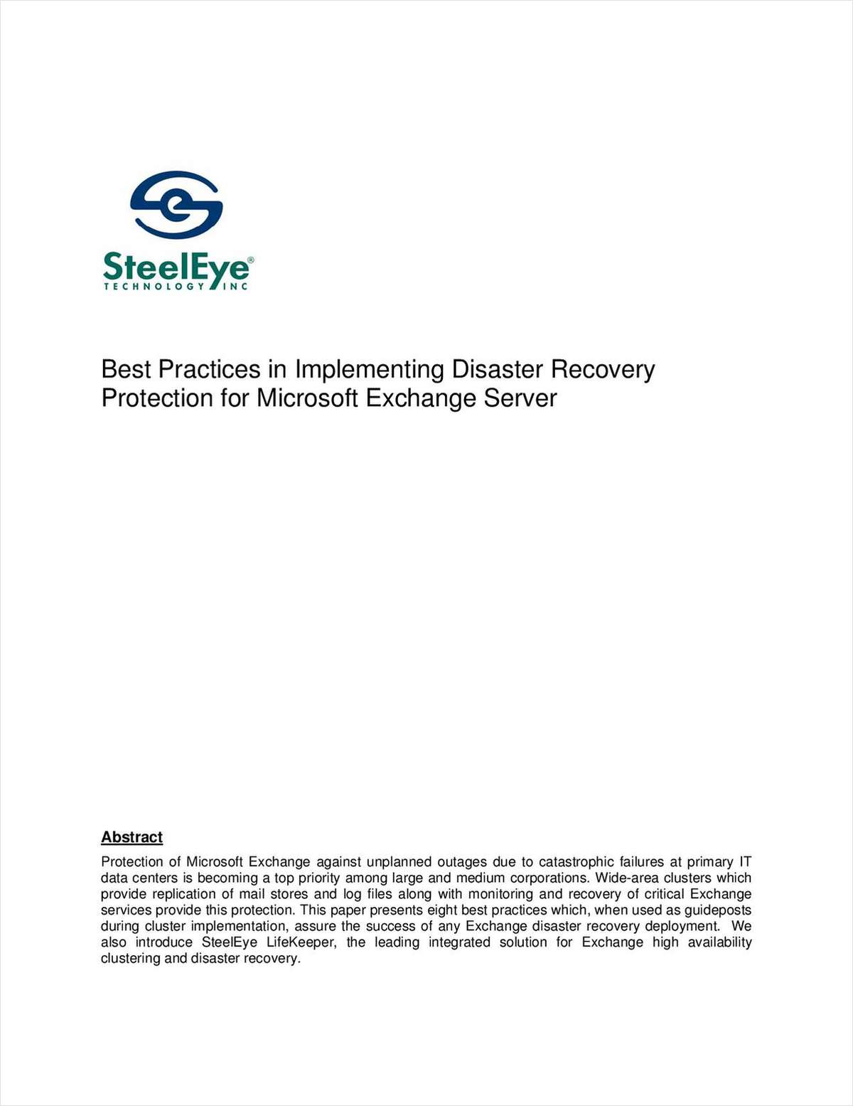 Best Practices: Implementing Disaster Recovery Protection for Microsoft Exchange Server