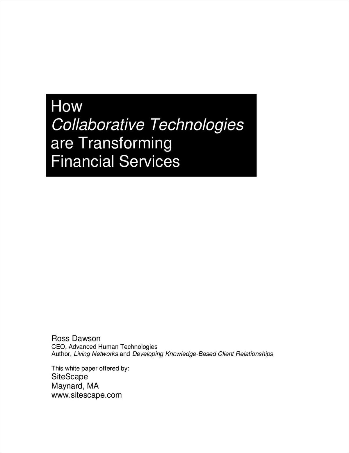 SiteScape - How Collaborative Technologies are Transforming Financial Services