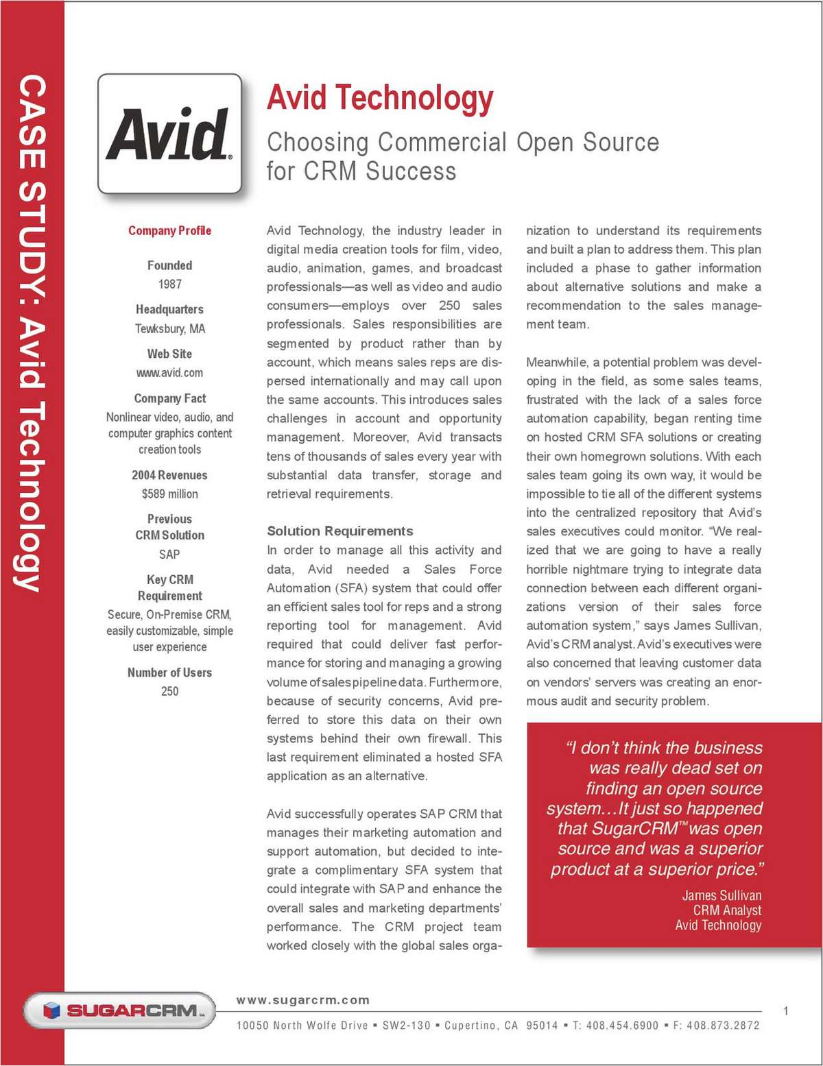 Avid Technology Choosing Commercial Open Source for CRM Success - Case Study