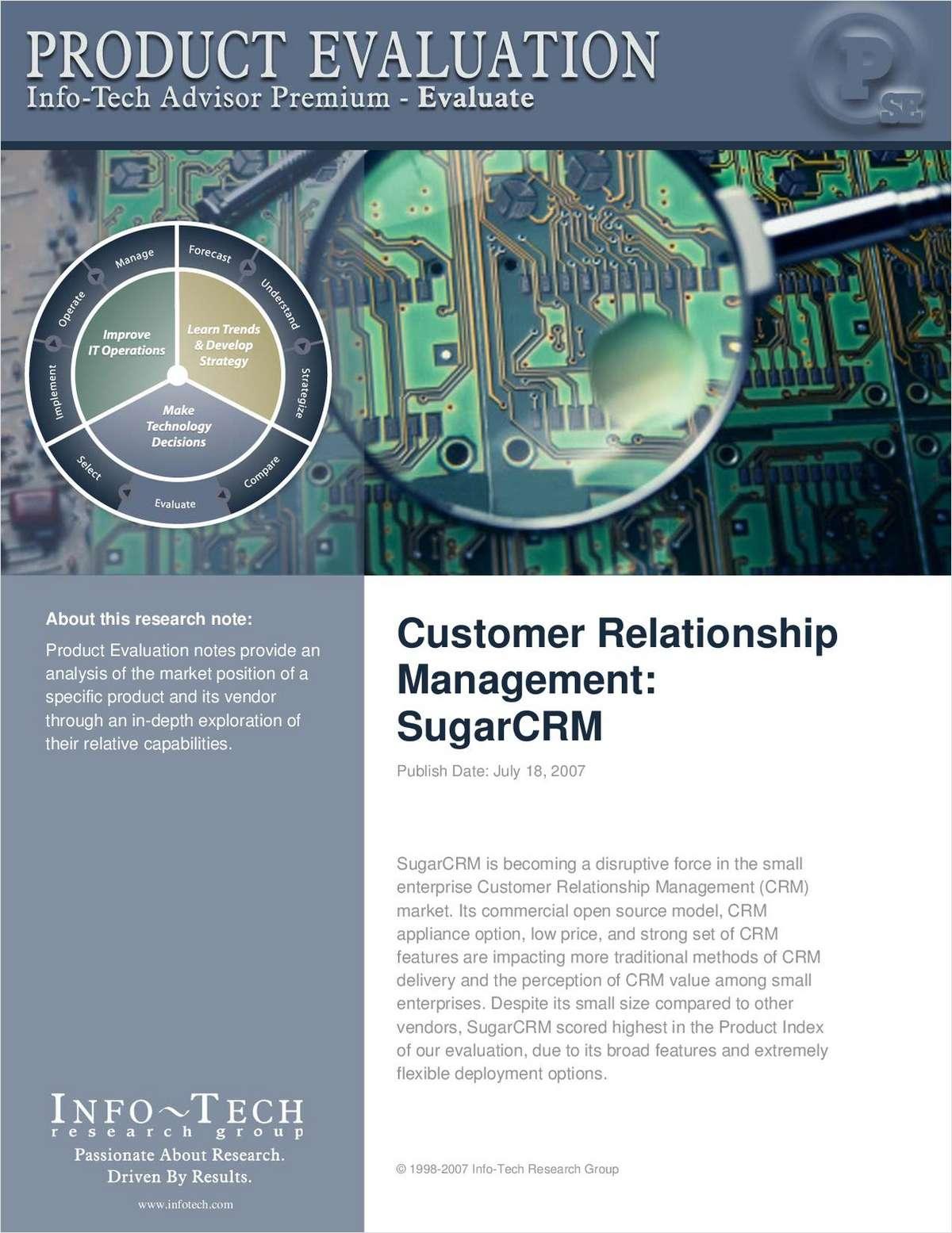 Info-Tech Research Names SugarCRM a CRM Leader