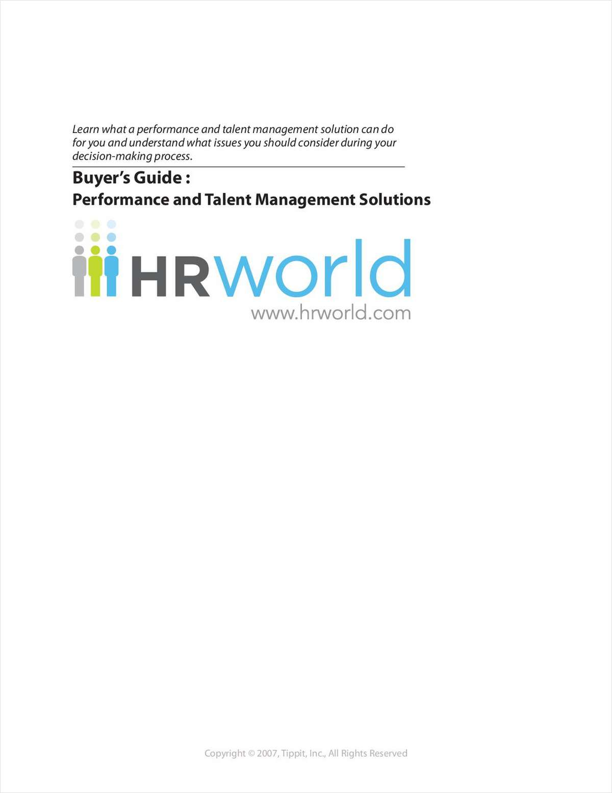Performance and Talent Management Solutions Buyer's Guide