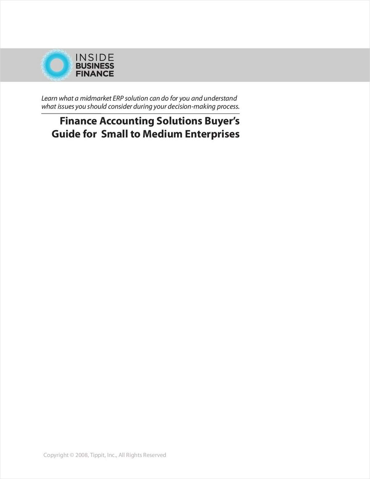 Finance Accounting Solutions Buyer's Guide for Small to Medium Enterprises
