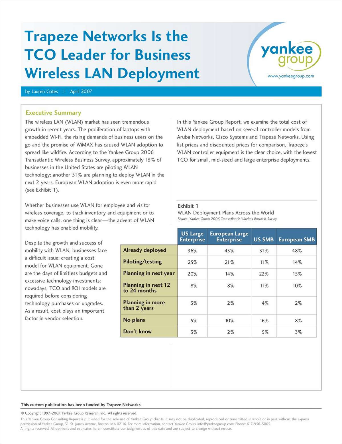 TCO Leader for Business Wireless LAN Deployment - a Yankee Group Report