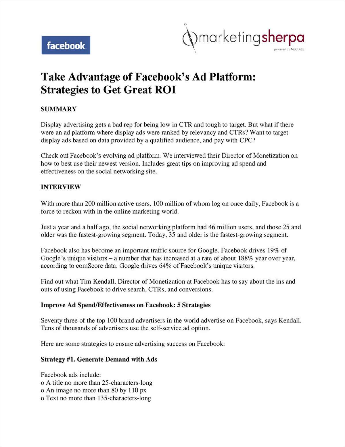 Take Advantage of Facebook's Ad Platform: Strategies to Get Great ROI (from MarketingSherpa)