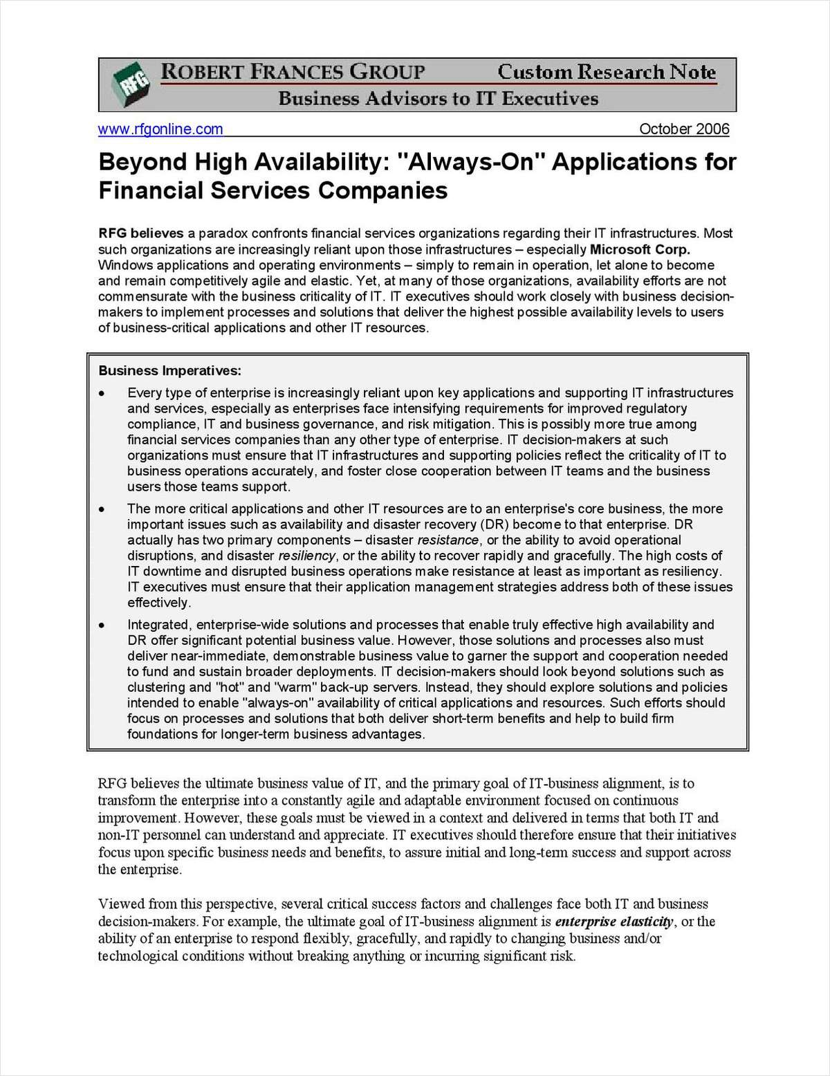 "Beyond High Availability: ""Always-On"" Applications for Financial Services"