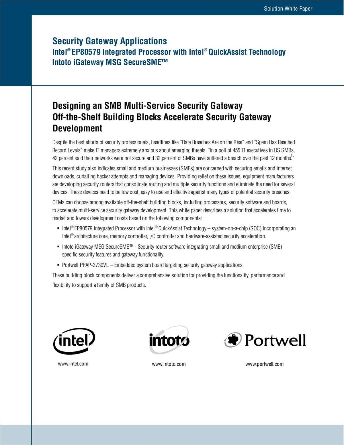 Designing an SMB Multi-Service Security Gateway Off-the-Shelf Building Blocks Accelerate Security Gateway Development