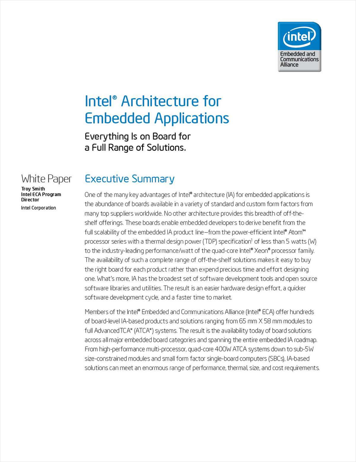 Why Intel® Architecture is Right for your Embedded Application