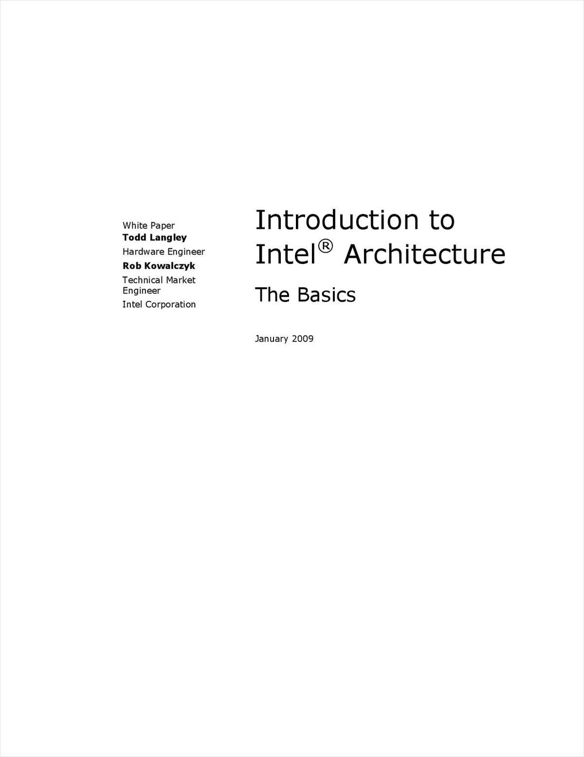 An Introduction to Intel® Architecture: The Basics