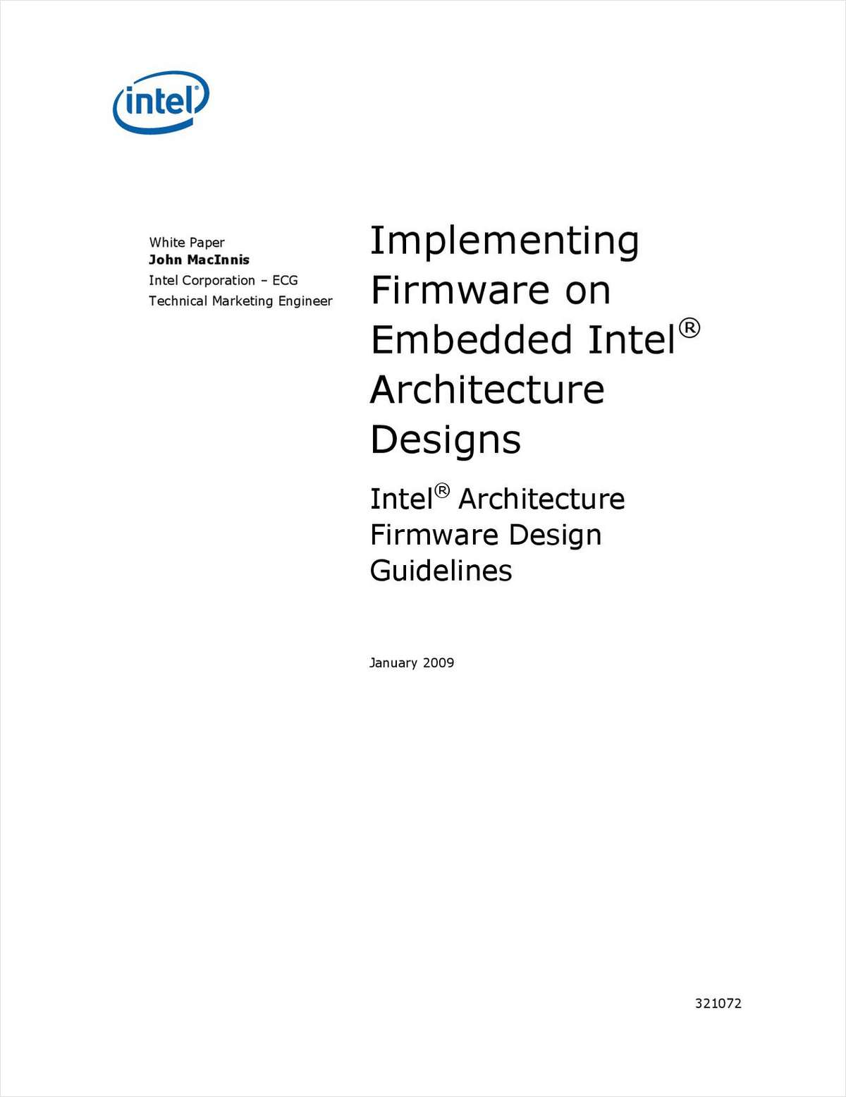 Implementing Firmware on Embedded Intel® Architecture:  Design Guidelines