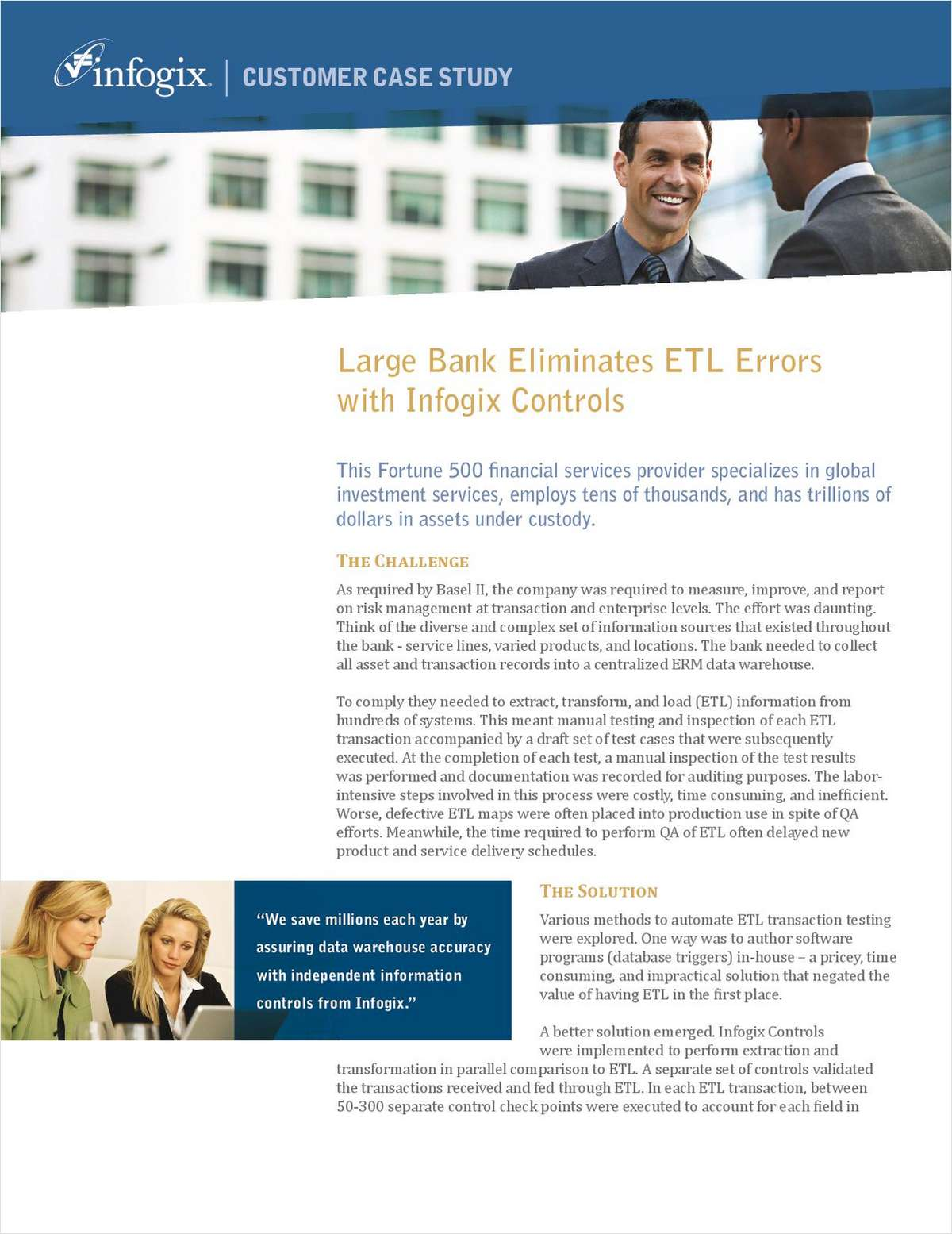 Large Bank Eliminates ETL Errors with Infogix Controls