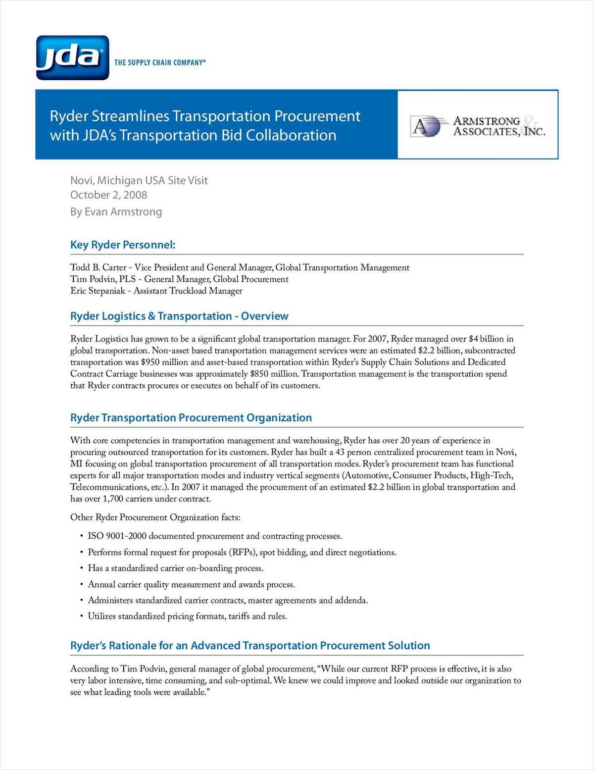 Lower Transportation Costs Through Bid Collaboration