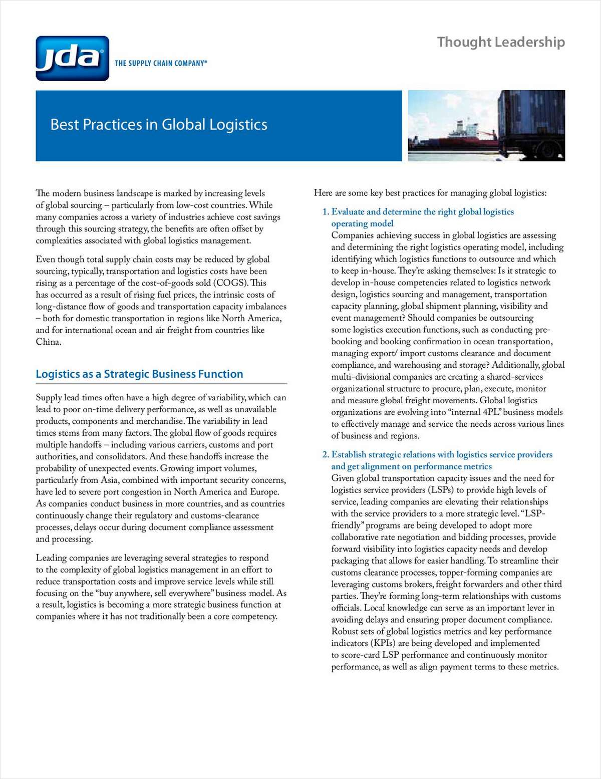 Best Practices in Global Logistics