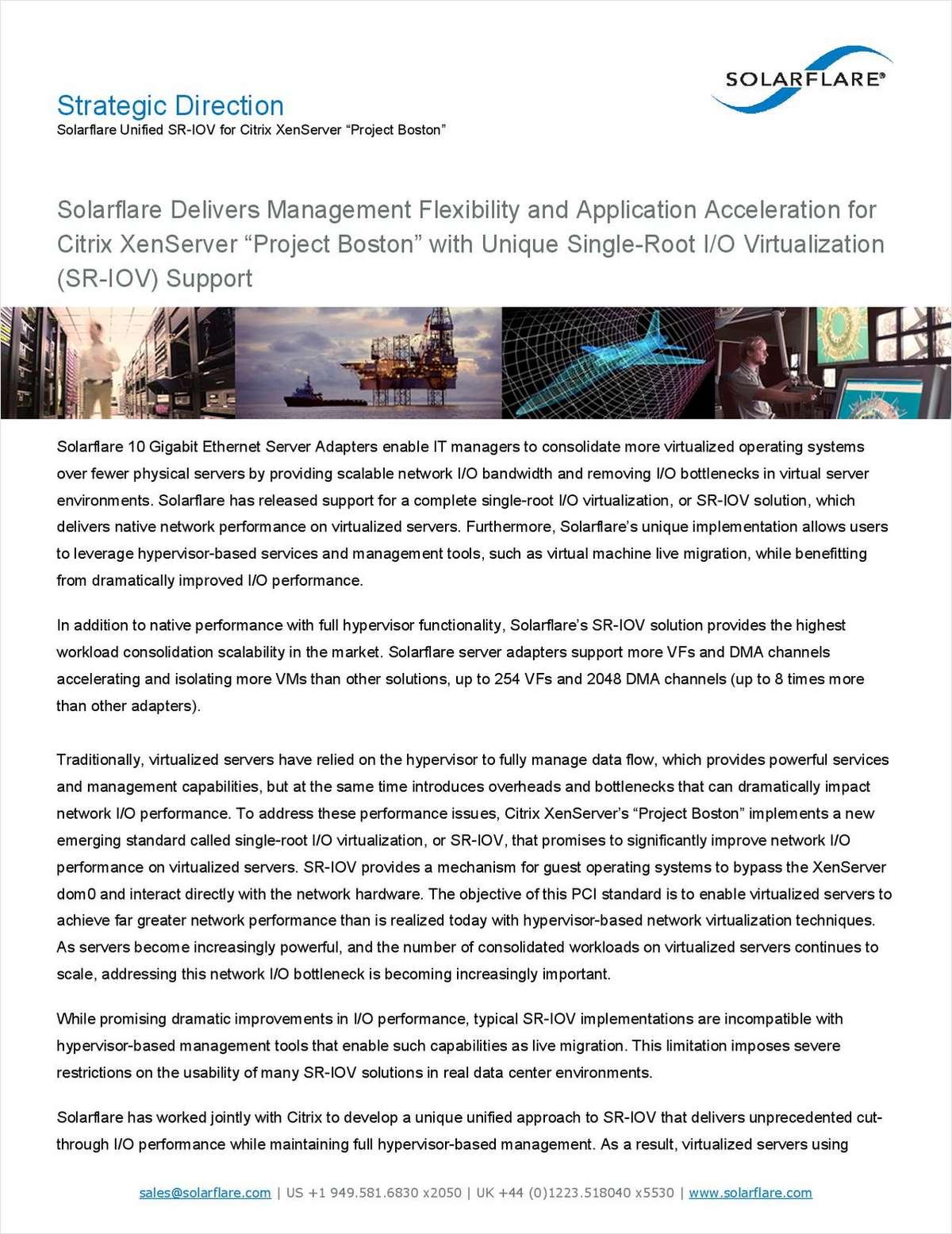 Unified SR-IOV for Citrix XenServer 'Project Boston'