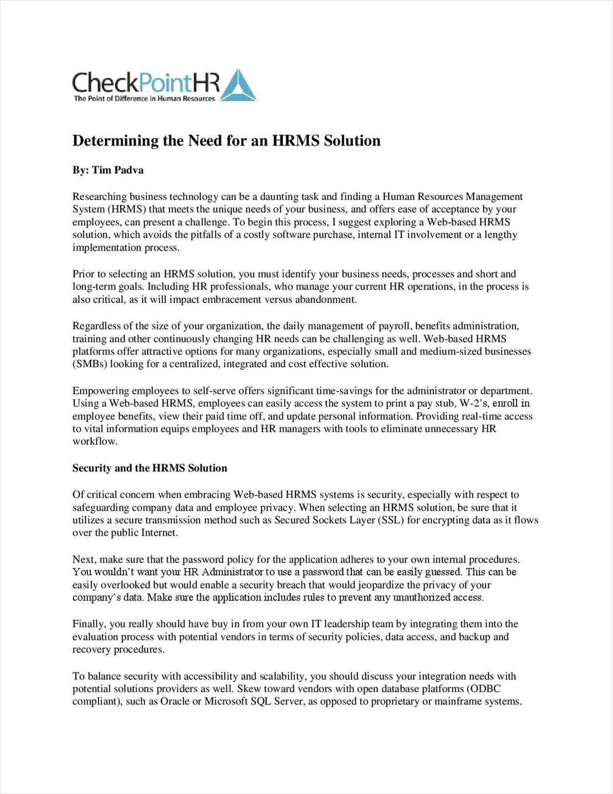 Determining the Need for an HRMS Solution