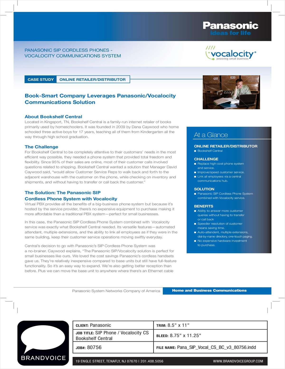 Book-Smart Company Leverages Panasonic/Vocalocity Communications Solution