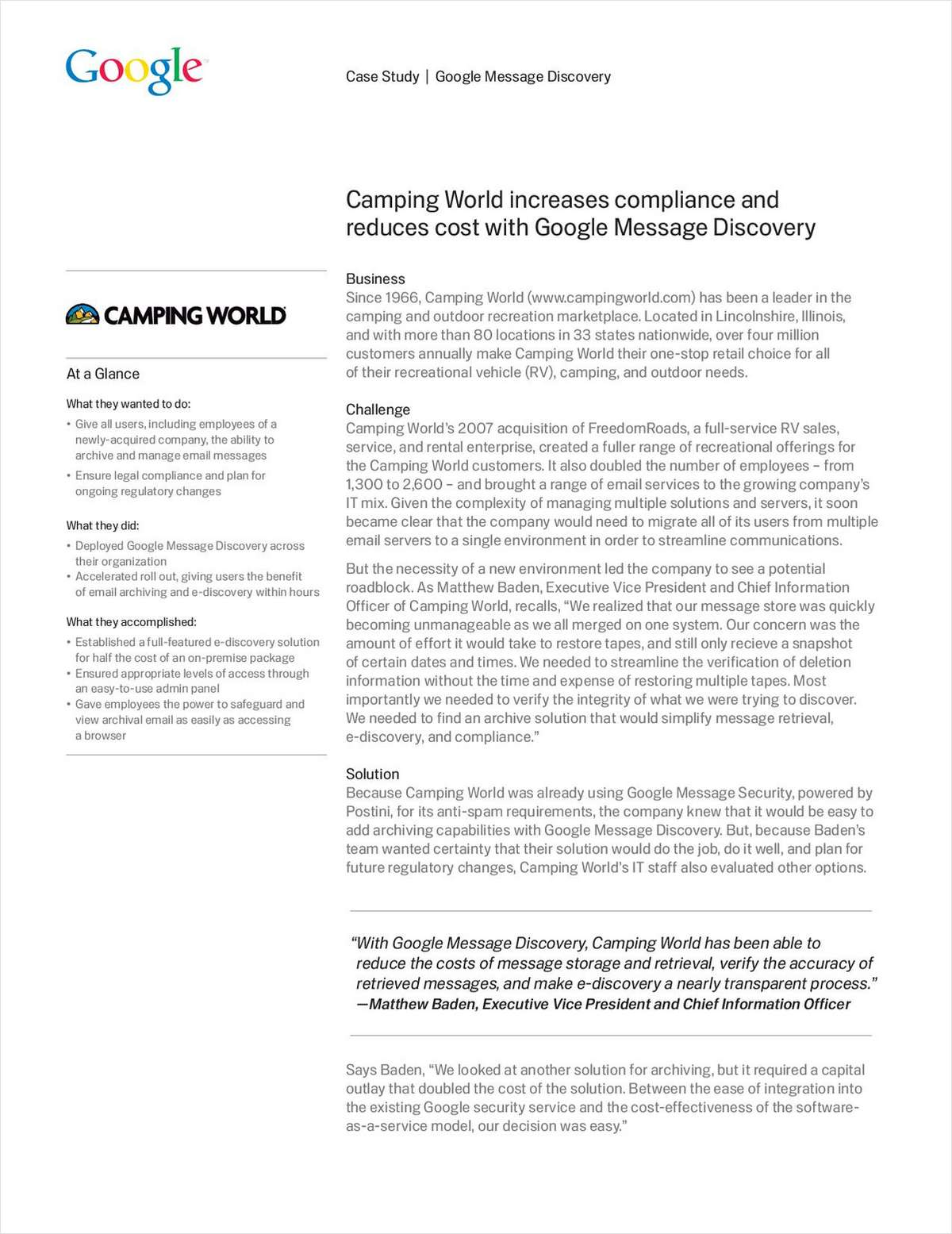Camping World Increases Compliance and Reduces Cost with Google Message Discovery