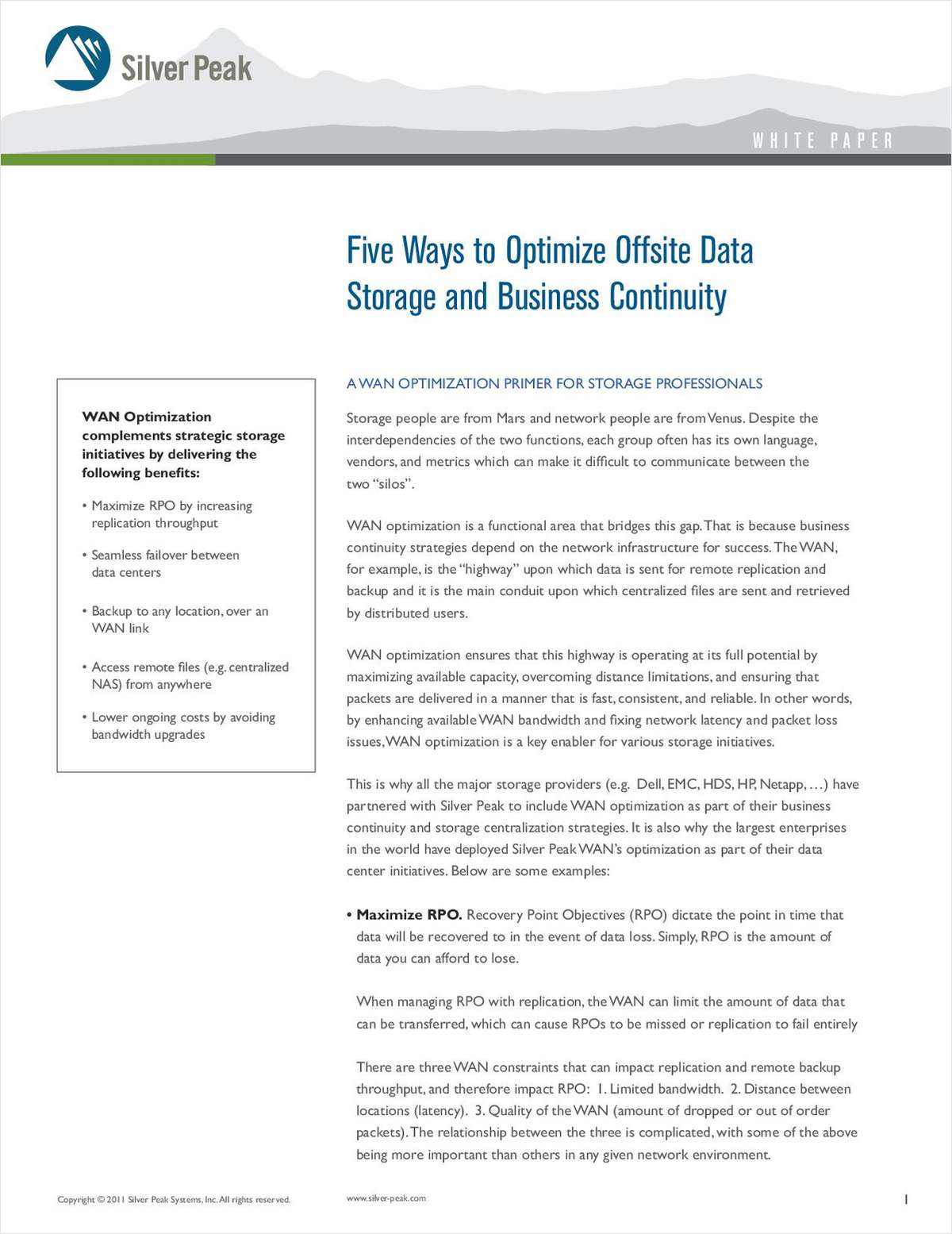 Five Ways to Optimize Offsite Storage and Business Continuity: A WAN Optimization Primer for Storage Professionals