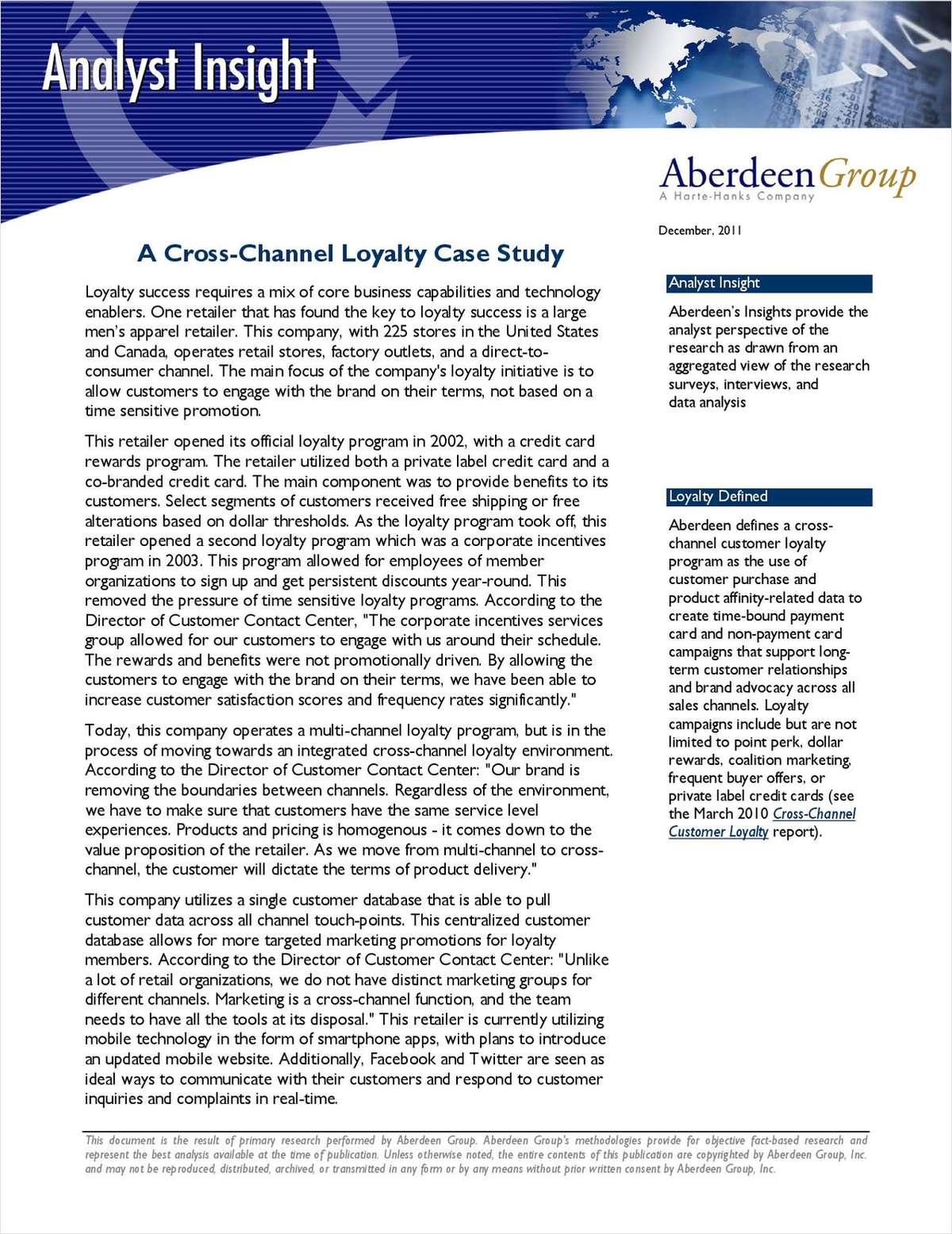 A Cross-Channel Loyalty Case Study