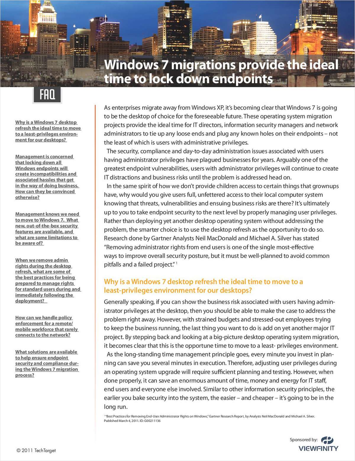 FAQ Guide: Windows 7 Migrations Are the Time to Lockdown PCs