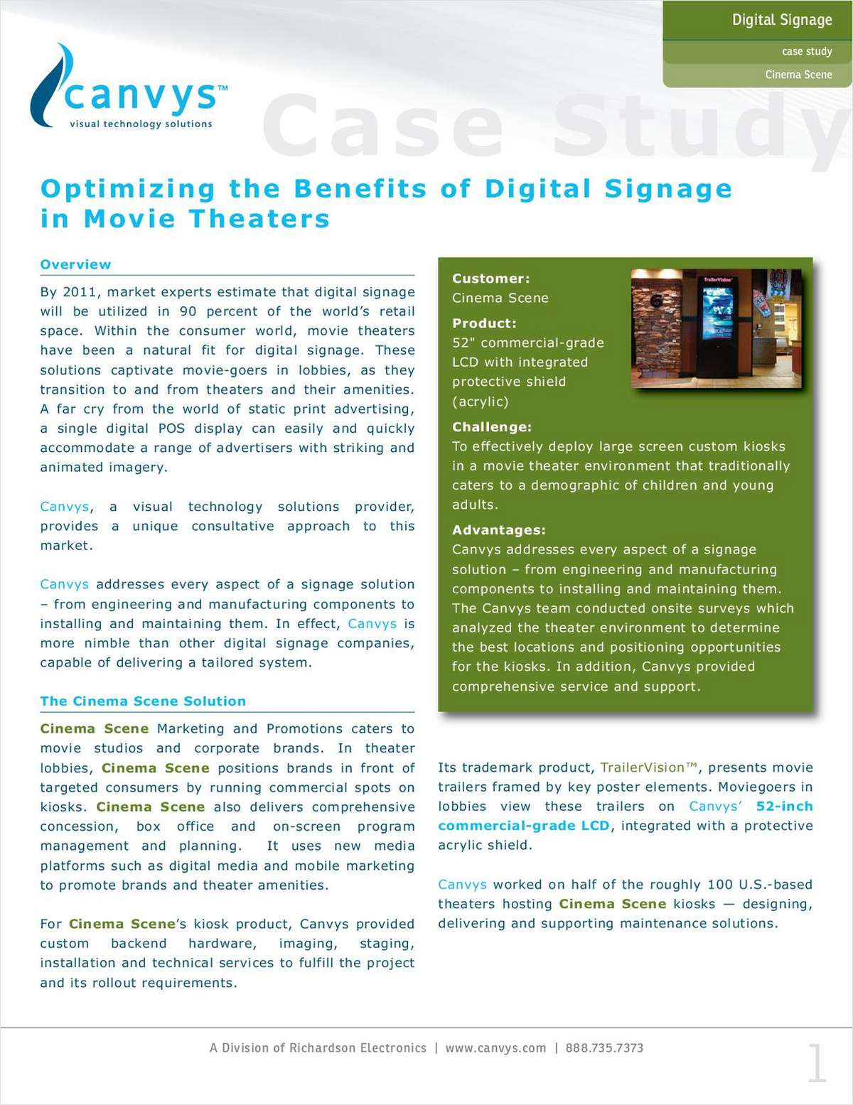 Canvys Case Study: Optimizing the Benefits of Digital Signage in Movie Theaters