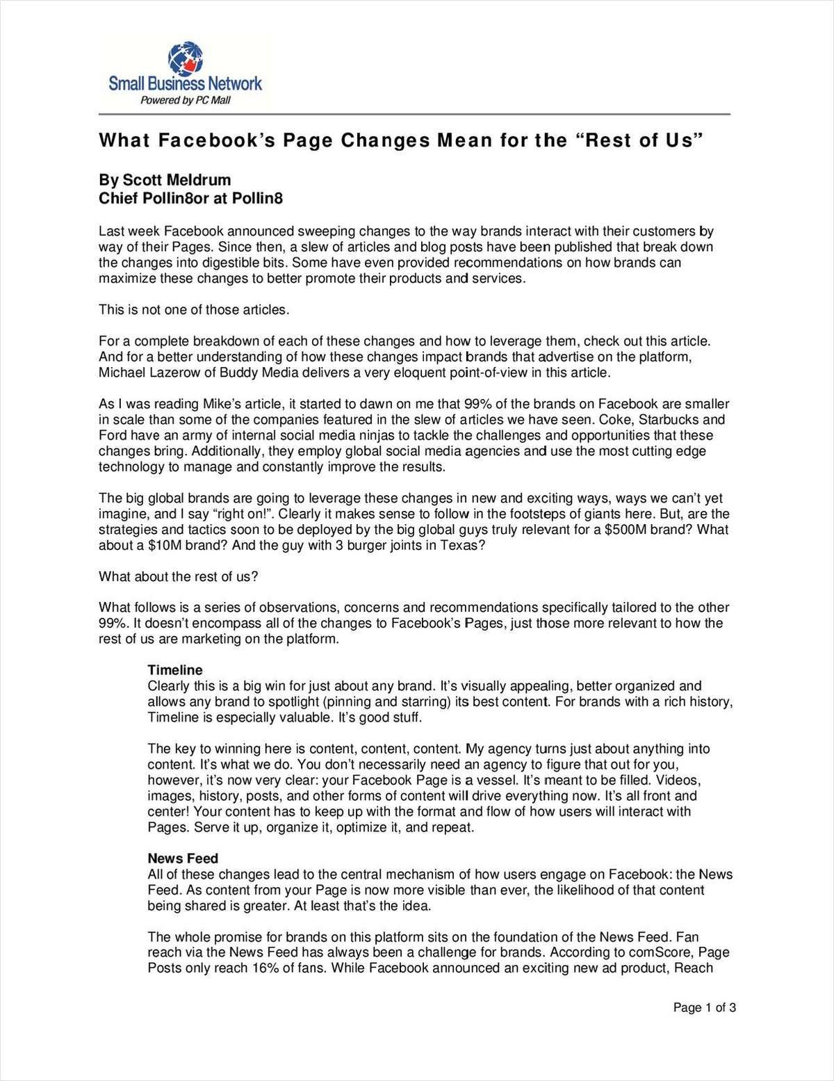 What Facebook's Page Changes Mean for the 'Rest of Us'