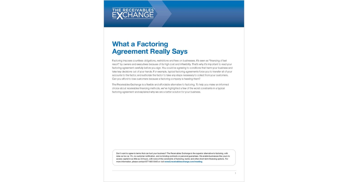 What A Factoring Agreement Really Says Free The Receivables