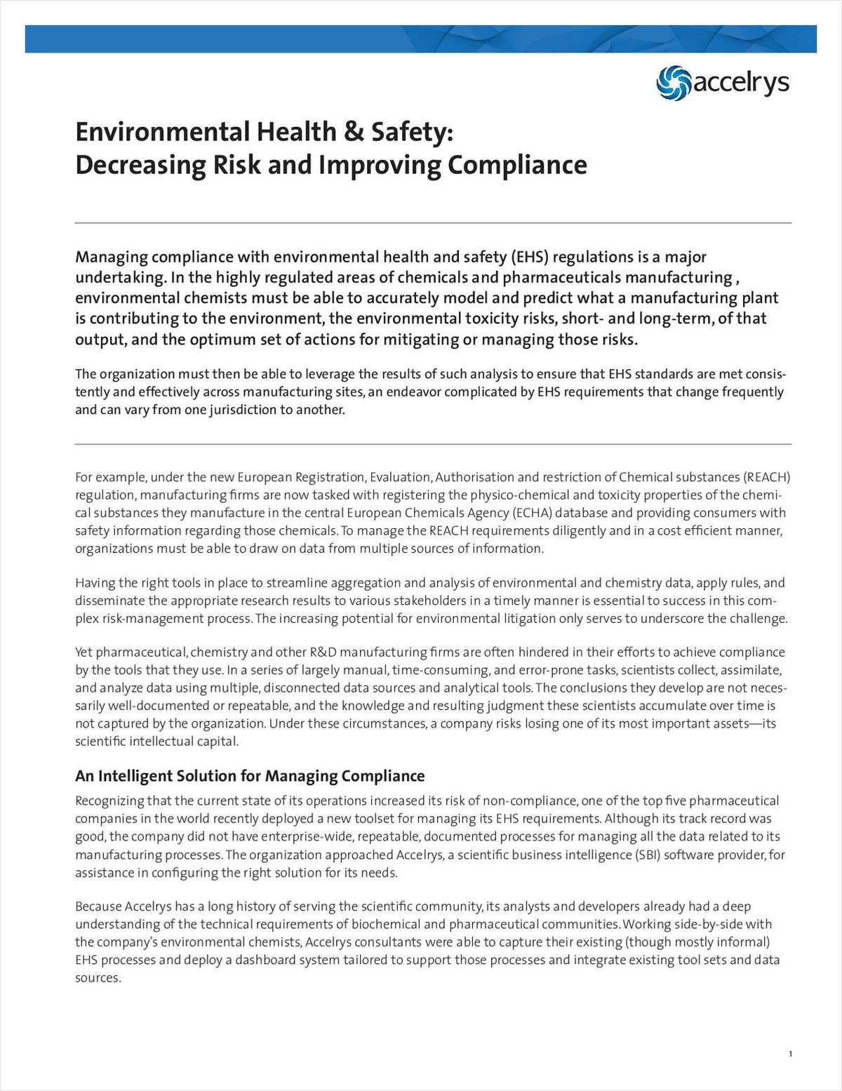Environmental Health & Safety: Decreasing Risk and Improving Compliance