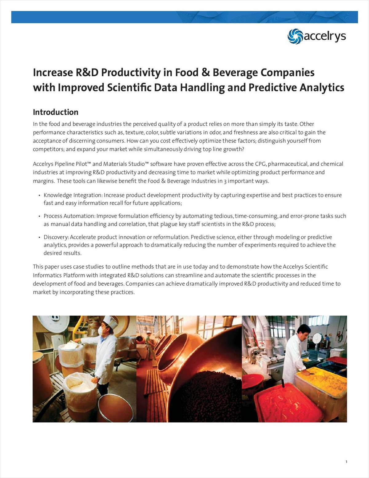 Increase R&D Productivity in Food & Beverage Companies