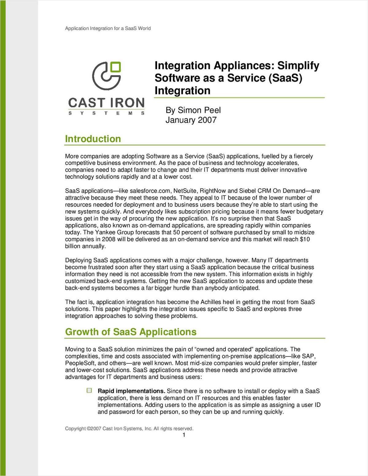 Integration Appliances: Simplify Software as a Service (SaaS)Integration