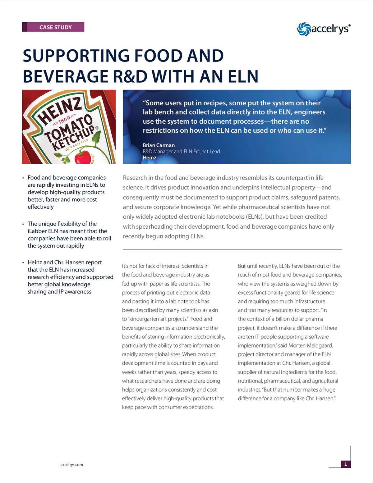 Supporting Food & Beverage Research with an Electronic Lab Notebook