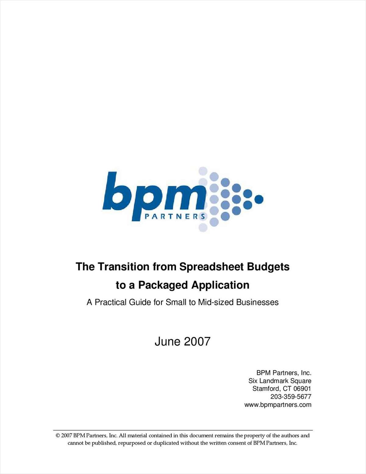 The Transition from Spreadsheet Budgets to a Packaged Application: A Practical Guide for Small to Mid-sized Businesses