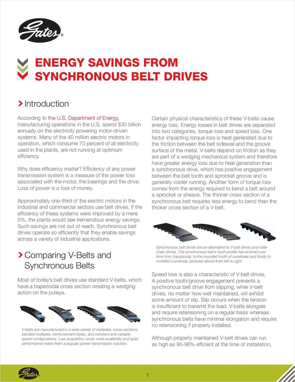 Energy Savings from Synchronous Belt Drives