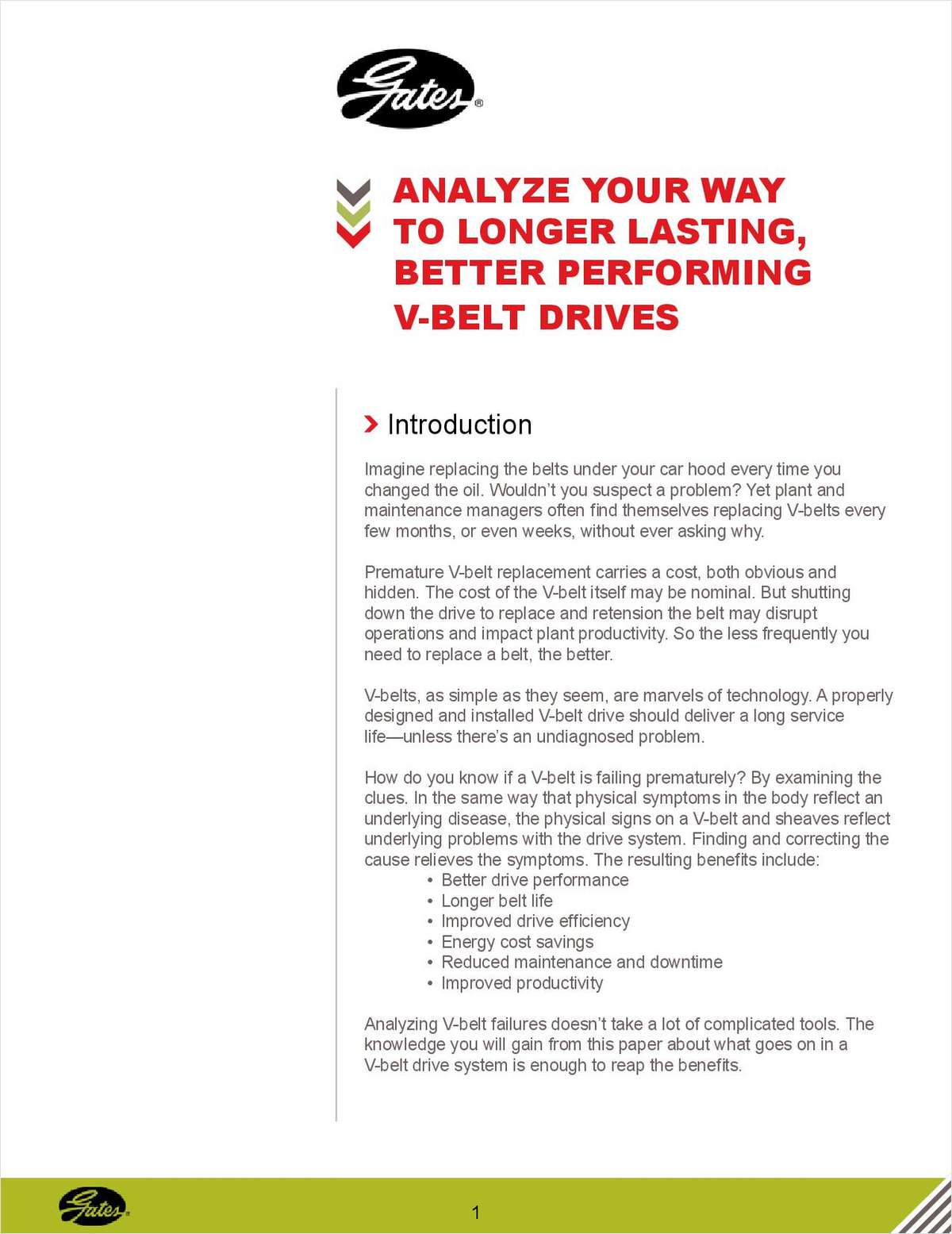 Longer Lasting, Better Performing V-Belt Drives
