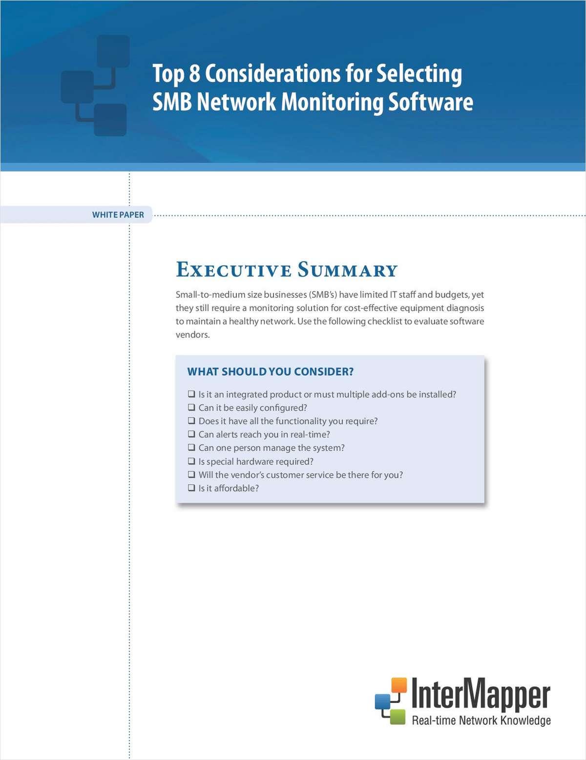 Top 8 Considerations for Selecting SMB Network Monitoring Software