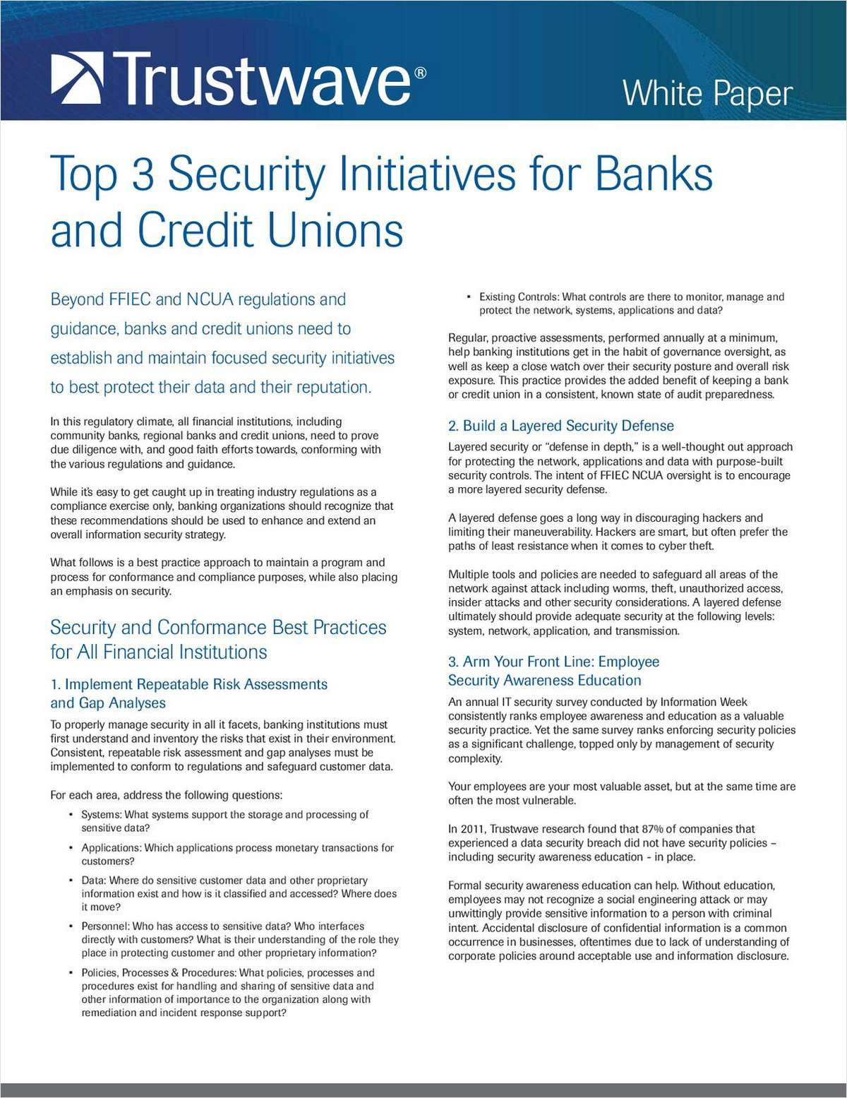 Top 3 Security Initiatives for Banks and Credit Unions