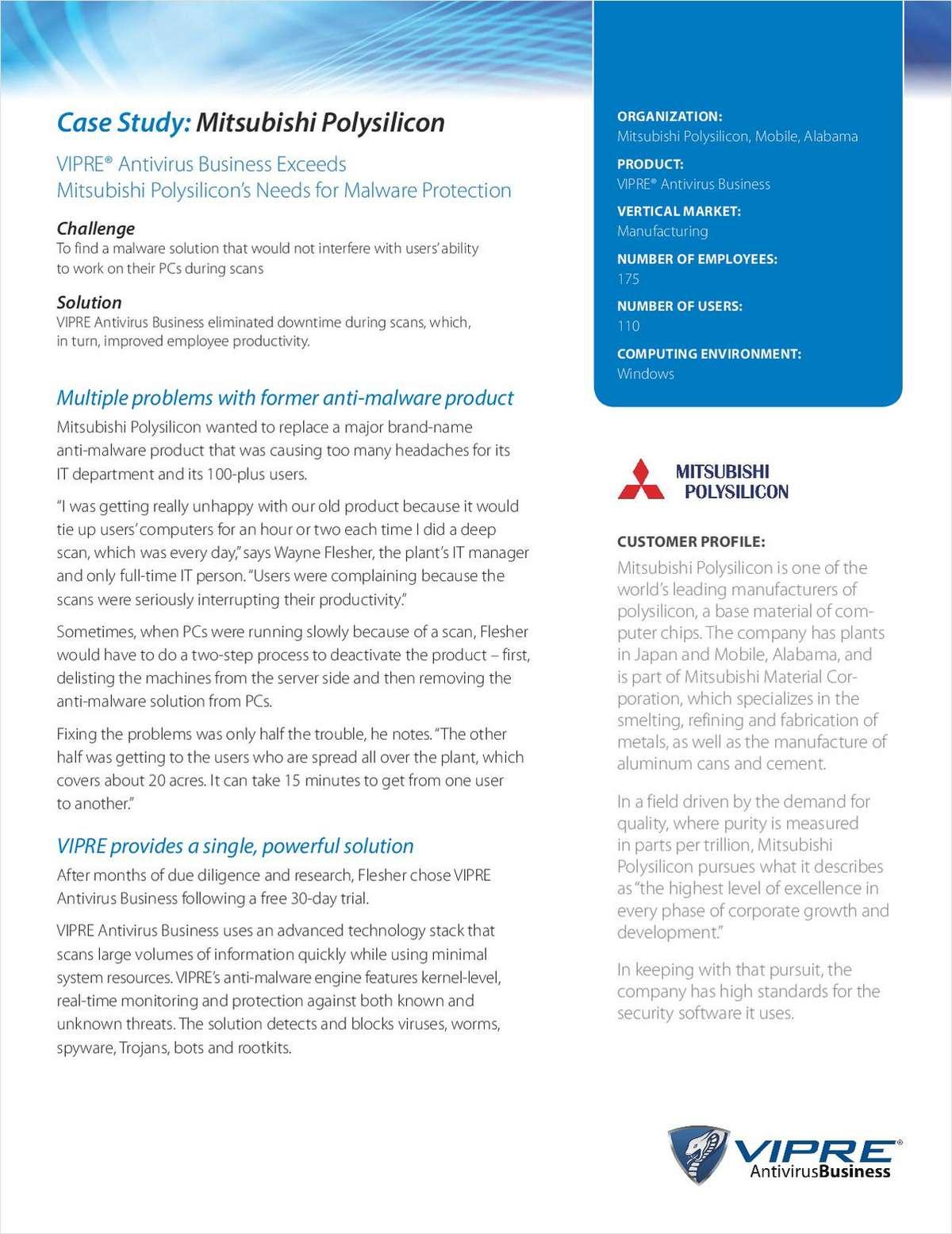 VIPRE Case Study: Mitsubishi Polysilicon
