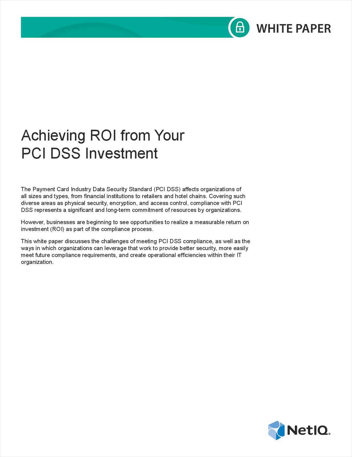 Achieving ROI from Your PCI DSS Investment