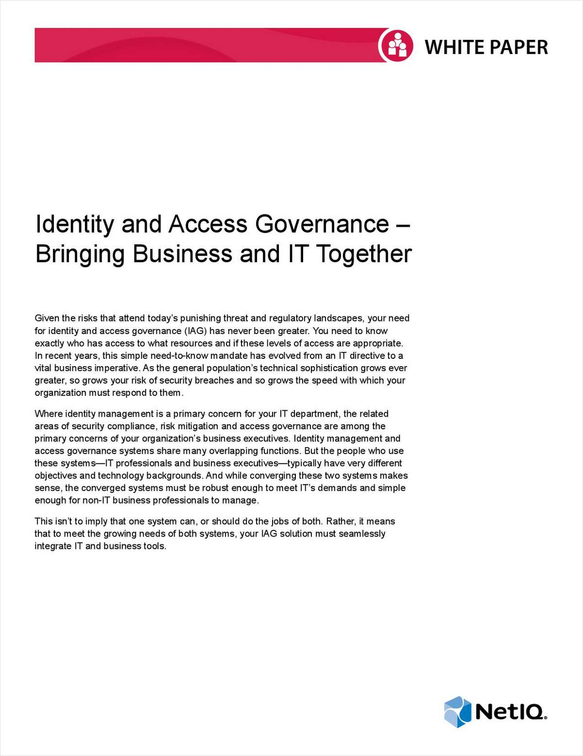 Identity and Access Governance: Bringing Business and IT Together