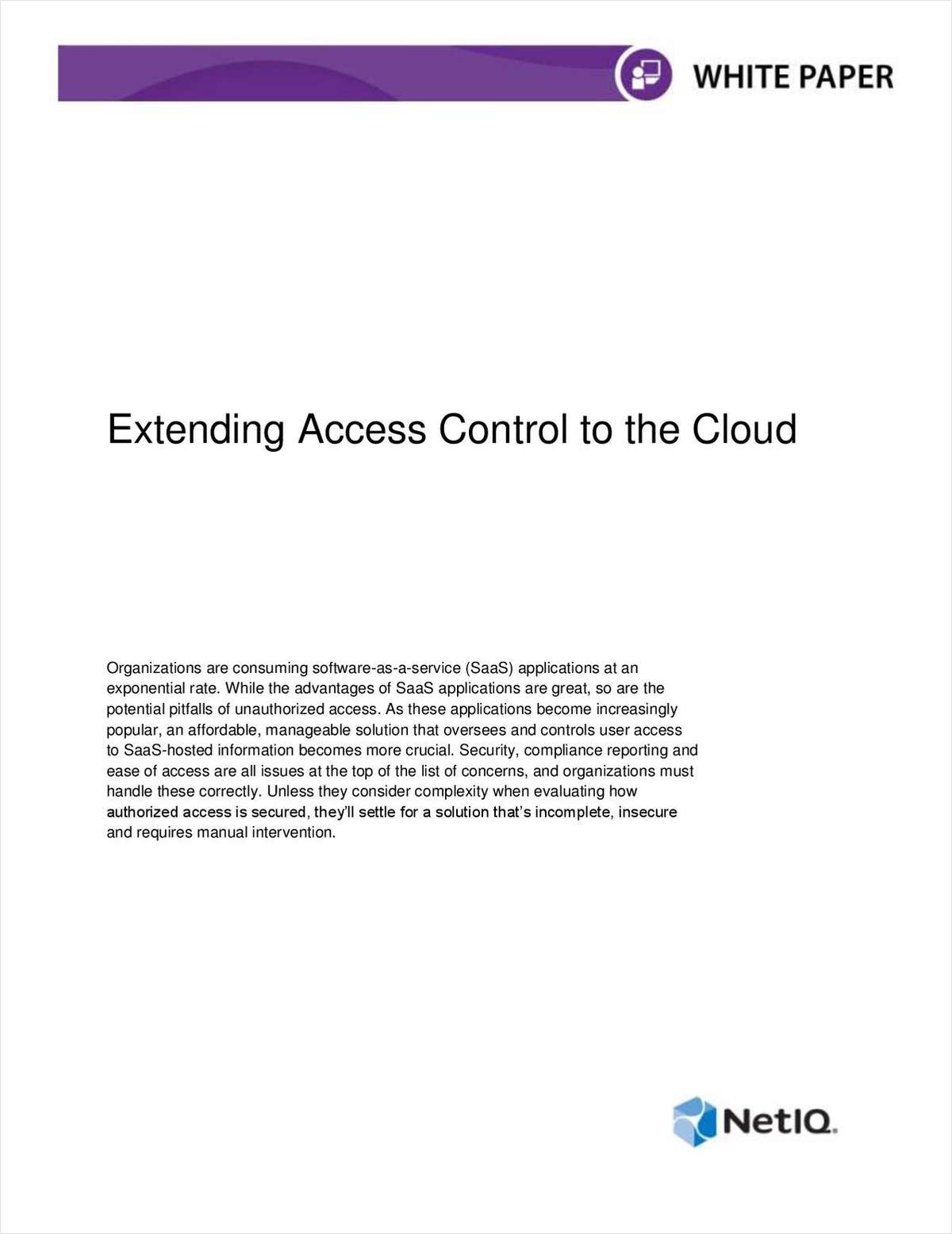 Extending Access Control to the Cloud